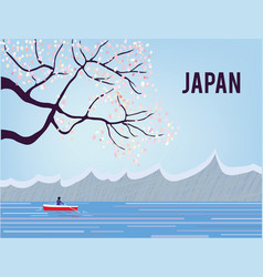 Japan landscape with sakura and water tranquil vector