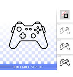 Joystick simple black line icon vector