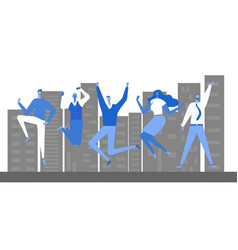 jumping business people vector image