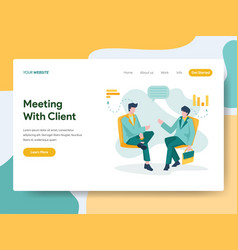 Landing page template business meeting vector