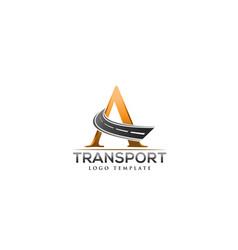 letter a road construction creative logo vector image