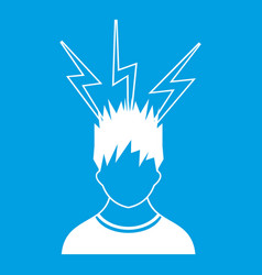 Lightning above the head of man icon white vector
