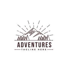 Lineart mountain adventure landscape logo vector