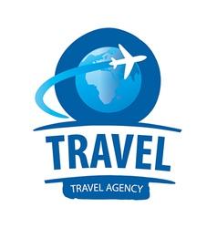 logo airplane flying around globe vector image