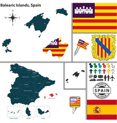 Map of Balearic Islands vector image