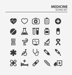 medical icon set 25 silhouette hospital vector image
