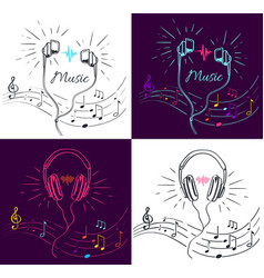 music visualization with headphones and notes vector image