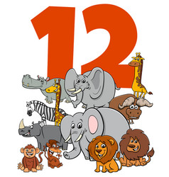 Number twelve for kids with cartoon animals group vector