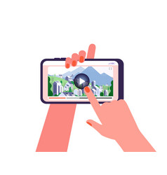 online travel guide video on phone tourism vector image