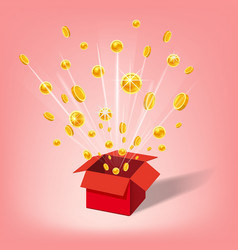 open red gift box and coins christmas and other vector image
