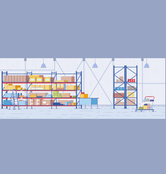 Pharmacy storehouse warehouse interior with racks vector