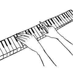 Piano keyboard and pianist hands isolated on white vector