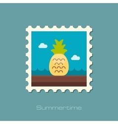 Pineapple flat stamp vector