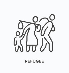 refugee flat line icon outline vector image