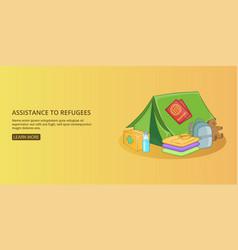 Refugees kit banner horizontal man cartoon style vector