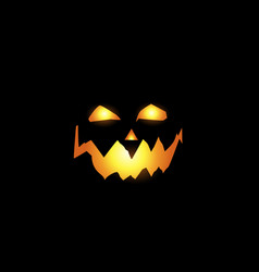 scary and evil pumpkin jack o lantern glowing vector image