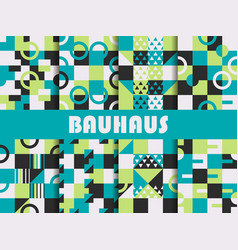 seamless geometric pattern set bauhaus design vector image