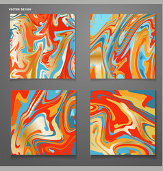 set cards with trendy colorful marble swirls vector image