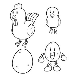 set chicken and egg vector image