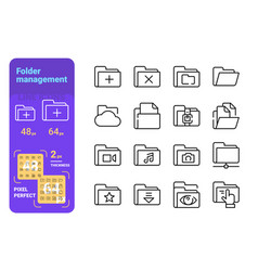 set folder management simple lines icons of vector image