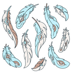 Set of bird feathers with ethnic pattern vector