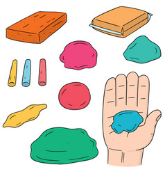 Set of clay for kid vector