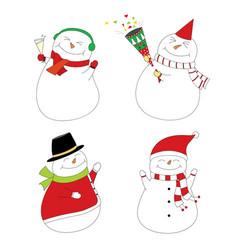 set of smoman party snowman happy cute snowmen vector image