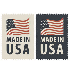 Set of two postage stamps with american flag vector