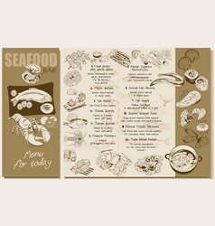 Sketch seafood restaurant menu template vector