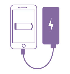 Smartphone connected to power bank vector