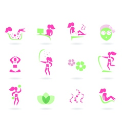 spa wellness icons vector image