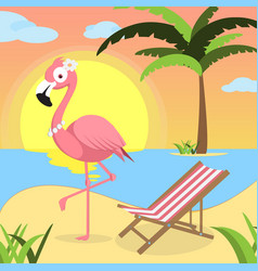 Summer background with pink flamingo and red white vector