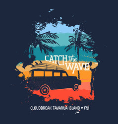 Summer surf trip to cloudbreak tavarua in fiji vector