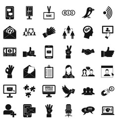 Team dialog icons set simple style vector