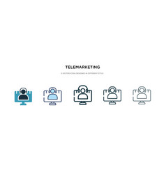 Telemarketing icon in different style two vector