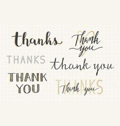 Thanks handwritten typography set vector