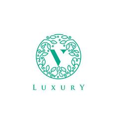 V letter logo luxurybeauty cosmetics logo vector
