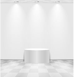 White room with round stage vector image