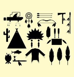 wild west american indian designed silhouette vector image