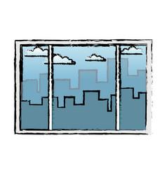 Window interior building urban view vector