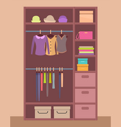 Wooden wardrobe with bright clothes and warm hats vector