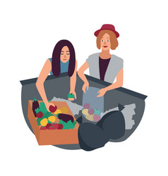 Young man and woman delving in waste container and vector