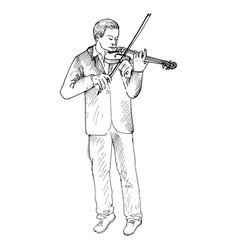 Young man playing the violin violinist vector