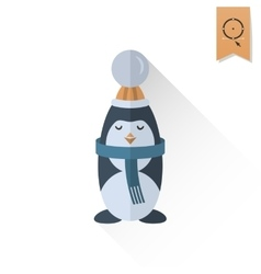 Christmas Penguin Retro Color vector image vector image