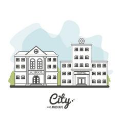 city landscape school hospital building tree line vector image