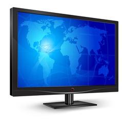 monitor blue world map vector image vector image