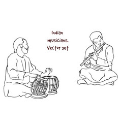 silhouette of indian musician vector image vector image