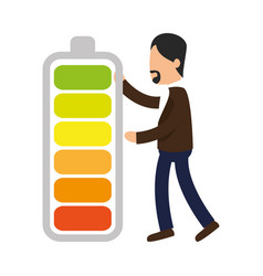 business people with battery level training icon vector image vector image