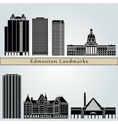 Edmonton landmarks and monuments vector image