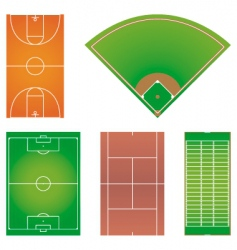 five popular sport field layouts vector image